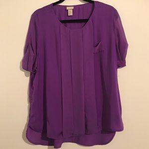 H&M Orchid Purple Short Sleeve  Blouse